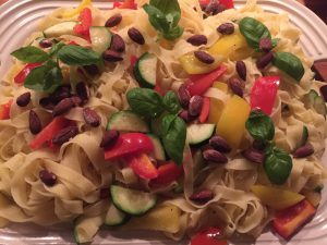 Spaghetti med lynstegte grønsager